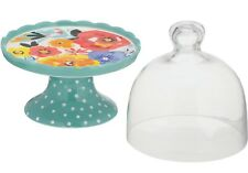 Pioneer Woman Flea Market Teal Retro Dots Mini Floral Cake Stand Dome Glass Lid