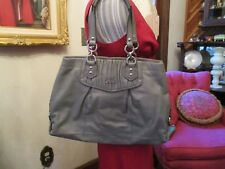 Gray Leather COACH Ashley Gathered Leather Tote/Satchel F19425