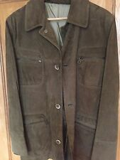 MENS OLIVE SUEDE JACKET MADE IN ITALY SIZE LARGE AMAZING QUALITY