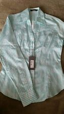 Women's TM LEWIN cutaway bouquet stripe jaquard shirt turquois color size 8 BNWT
