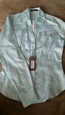 Women's TM Lewin Cutaway Bouquet Stripe Jaquard Shirt Turquois Color Size 8