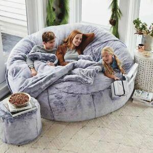 7ft Giant Fur Bean Bag Cover Big Round Soft Fluffy Faux Fur BeanBag Chair #01