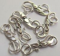 Large Sterling Silver S-Hook Clasp with Leaf Design and Rings - Shiny - 32x8 mm
