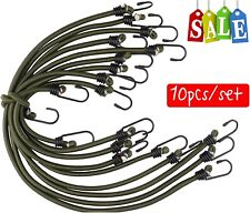 10x Elasticated Bungee Cords Military Army Basha Straps Hook Luggage Olive Green