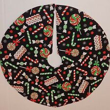 "Handmade Mini 18"" Christmas tree skirt black PEPPERMINT CANDY CANES ribbon"