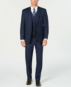 Michael Kors Classic Natural Stretch Navy Check Vested Wool Suit 38L 38 31 x 33