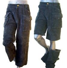 fc8eaaa7b2 Pantalón de Cuero Gamuza Negra Zip Off M cargo 34 32 corto Jean Punk De  Colección Hip Hop