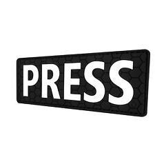 "PRESS 5""x2"" PVC rubber badge body armor plate carrier emblem patch VELCRO® brand"
