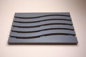 Wave Design Solid Beech Wooden Duck Board Bathroom Shower Mat - Grey Satin