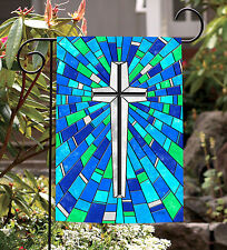 NEW Toland - Stained Glass Cross - Bright Blue Colorful Christian Garden Flag