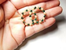 Green Rhinestone Faux Pearl Gold Filled Infinity Brooch Vintage