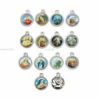 50Pcs Catholic Religious Holy Cross Enamel  Charms Medals Jewellery Pendants