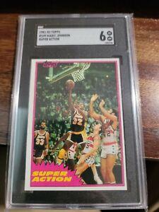 1981-82 topps magic johnson 109 super action graded 6