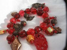 Super detailed red multi charm glass and copper bead stretch bracelet