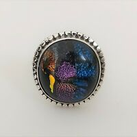 DICHROIC GLASS GEMSTONE 925 STERLING SILVER HANDMADE JEWELRY RING 3 TO 12