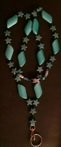 Turquoise blue magnesite and acrylic beaded Lanyard w/ Breakaway USA Badge