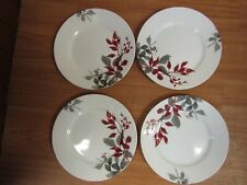 "Set of 4 Kyoto Leaves Red Gray Round 10 3/4"" Dinner Plates Gently Used"