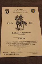 Original Vietnam War Era 101st Airborne (Air Assault) Citation Document, Unused