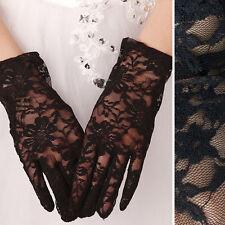 Costume Black Floral Vine Lace Gloves Elbow Bridal Opera Wedding Formal Party US