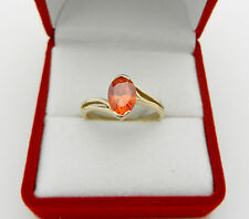 Solid 14k Yellow Gold Oval Orange Color Garnet Ladies Ring