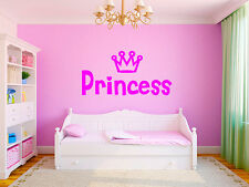 "Princess Crown Girls Nursery Room Vinyl Wall Decal Graphics 22""x11"" Small"