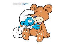 Die Schlümpfe als Wandtattoo, Babyschlumpf mit Teddy, 40x40cm Kinderzimmer Deko