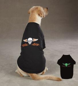 Dog T-Shirt Ruff N' Tuff Tee Black Glow Dark Skull Top Pet