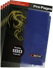 (5) BCW-PRO18S-BLU BCW Blue Trading Card Binder Pages Vinyl Page Holds 18 Cards