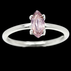 Genuine Faceted Morganite - Madagascar 925 Silver Ring Jewelry s.7.5 BR96654