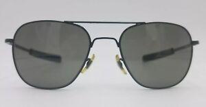 American Optical Origina Pilot Aviator Square Black 57×20-140 AO Sunglasses #859