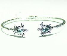 Vintage Samuel B Behnam 925 Sterling Silver Stone Bangle Bracelet Engagement Cut
