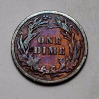 1901-P Barber Dime , Silver 10C Coin , Toned !