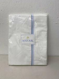 Matouk Essex Full/Queen Flat Sheet 94x112 White/Azure Blue - 100% Cotton NEW