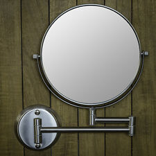 """Hotel Quality NICKEL 8"""" Wall Mount Swing Arm 2-Sided Magnifying Mirror 1 & 7X"""