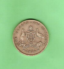 1936  AUSTRALIAN STERLING SILVER FLORIN TWO SHILLING COIN