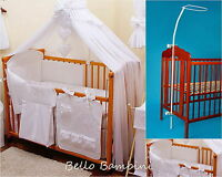 8 pcs BABY BEDDING SET /BUMPER/CANOPY /HOLDER to fit COT or COT BED WHITE