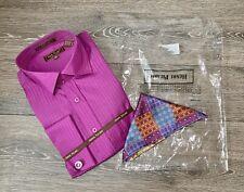 Henri Picard Mens Single Needle Tailoring Plum Dress Shirt 16.5 36/37 NEW!