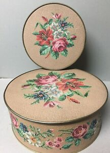 Set of 2 Vintage Guildcraft Round Sewing Tins w/Faux Floral Cross Stitch Pattern