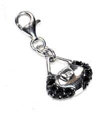 AGATHA Charm's pendentif argent massif 925 pour bracelet sac à main noir A4
