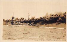 U. S.  Battle Ship Using a Smoke Screen Real Photo RPPC Postcard