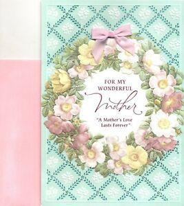 Happy Birthday Mother Pink Rose Wreath Of Flowers Theme Hallmark Greeting Card