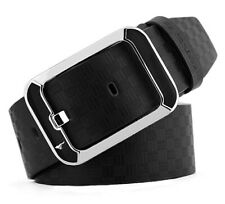 Mens Belt Genuine Septwolves Real Leather Classic Black Perfect For Jeans W30-46