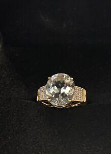 STS light Blue Aquamarine Diamond Ring 10K yellow gold Size 6 Womens Ladies