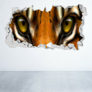 TIGER EYES WALL STICKER 3D LOOK BEDROOM LOUNGE NATURE ANIMAL WALL DECAL Z1375