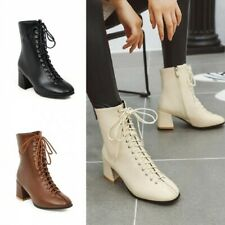New Womens Ankle Boots Criss Cross Ankle Boots Lace Up Block Heel Outdoor Winter