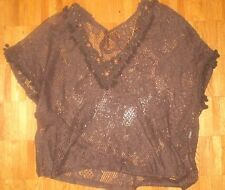 Lace knit boho hippie festival beads brown tunic top shirt tiny pom poms  M-L
