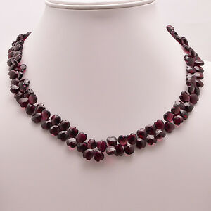 "925 Sterling Solid Silver18.25"" Necklace Garnet Apple Shape Handmade (SPN-212)"
