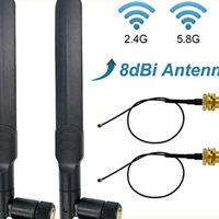Wifi Antenna 8Dbi Omni RP SMA Male 2.4Ghz/5.8Ghz Dual Band + 20Cm U.FL IPEX MHF4