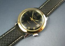 Vintage Wyler Tri Sport Black Dial Stainless & Gold Tone Mens Date Watch 17J