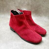 Aerosoles Womens Duble Trouble Sz 9 M Red Suede Ankle Boots Booties